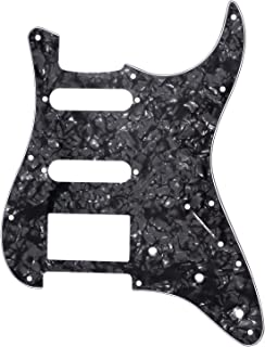 Metallor Electric Guitar Pickguard 3 Ply 11 holes 2 Single Pickup 1 Humbucker Pickup SSH Compatible with Strat Style Guitar Parts Replacement(Black Pear)
