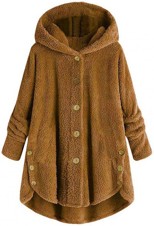 Teddy Bear Hooded Jacket for Women Furry Fleece Button Wool Coat Solid Warm Winter Oversized Outwear with Pockets