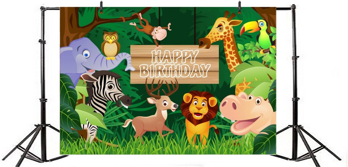 Yeele 10x10ft Cartoon Jungle Backdrop Safari Theme Kids Birthday Party Photography Background Forest Theatre Kids Acting Show Dessert Table Decoration Preschool Photobooth Props Digital Wallpaper
