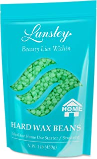 Hard Wax Beans Hair Removal Painless Lansley for Full Body Brazilian Bikini Face Legs Eyebrow Aloe at Home Waxing Beads 1lb Large Refill for Women Men