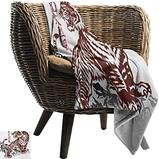 BelleAckerman Flannel Throw Blanket,Tattoo,Wild Chinese Tiger with Stripes and Roaring While its Paws on Rock Asian Pattern,Brown White,for Bed & Couch Sofa Easy Care 60