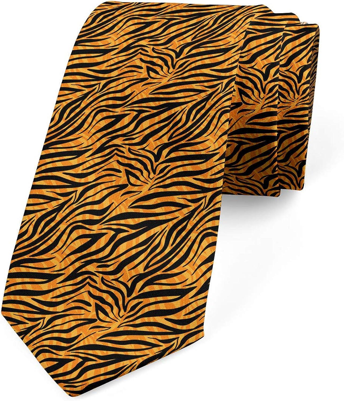 Ambesonne Necktie, Tiger Skin Motif, Dress Tie, 3.7