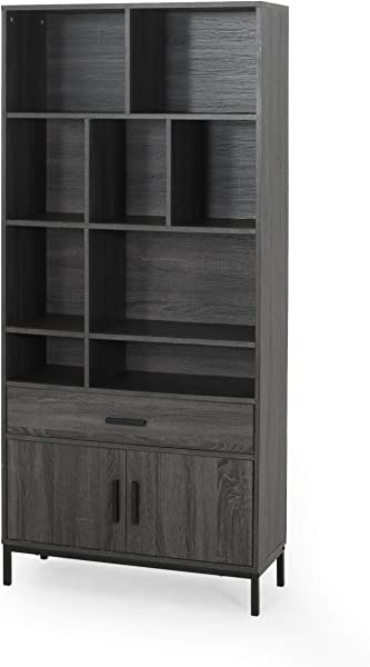 Great Deal Furniture Jocelyn Contemporary Faux Wood Cube Unit Bookcase Dark Gray And Black