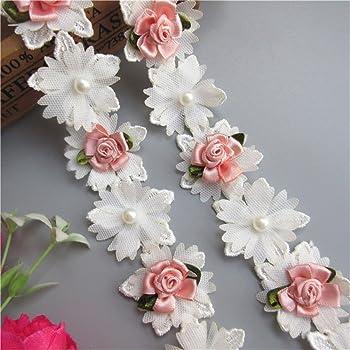 bridal white ribbon roses sewing//crafts items
