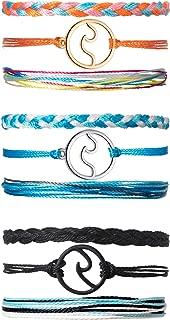Chuangdi 3 Sets Wave Bracelet Braided Rope Bracelet Set Adjustable Friendship Bohemian Handmade Bracelet Waterproof for Women Men Kids