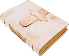 Handmade Notebook - Antique Leather-Bound A5 Daily Note Pads for Men & Women, Best Gift for Art Sketchbook,Unlined Kraft Paper,Travel Diary & Journals to Write in (Beige)