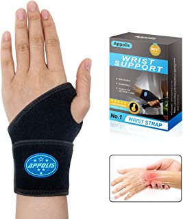 Wrist Brace for Carpal Tunnel,Appolis Adjustable Wrist Support for Arthritis and Tendinitis Pain Relief,Comfortable Wrist Compression Wrap for Working Out,Fit Both Left/Right Hand,Single,One Size(Black)