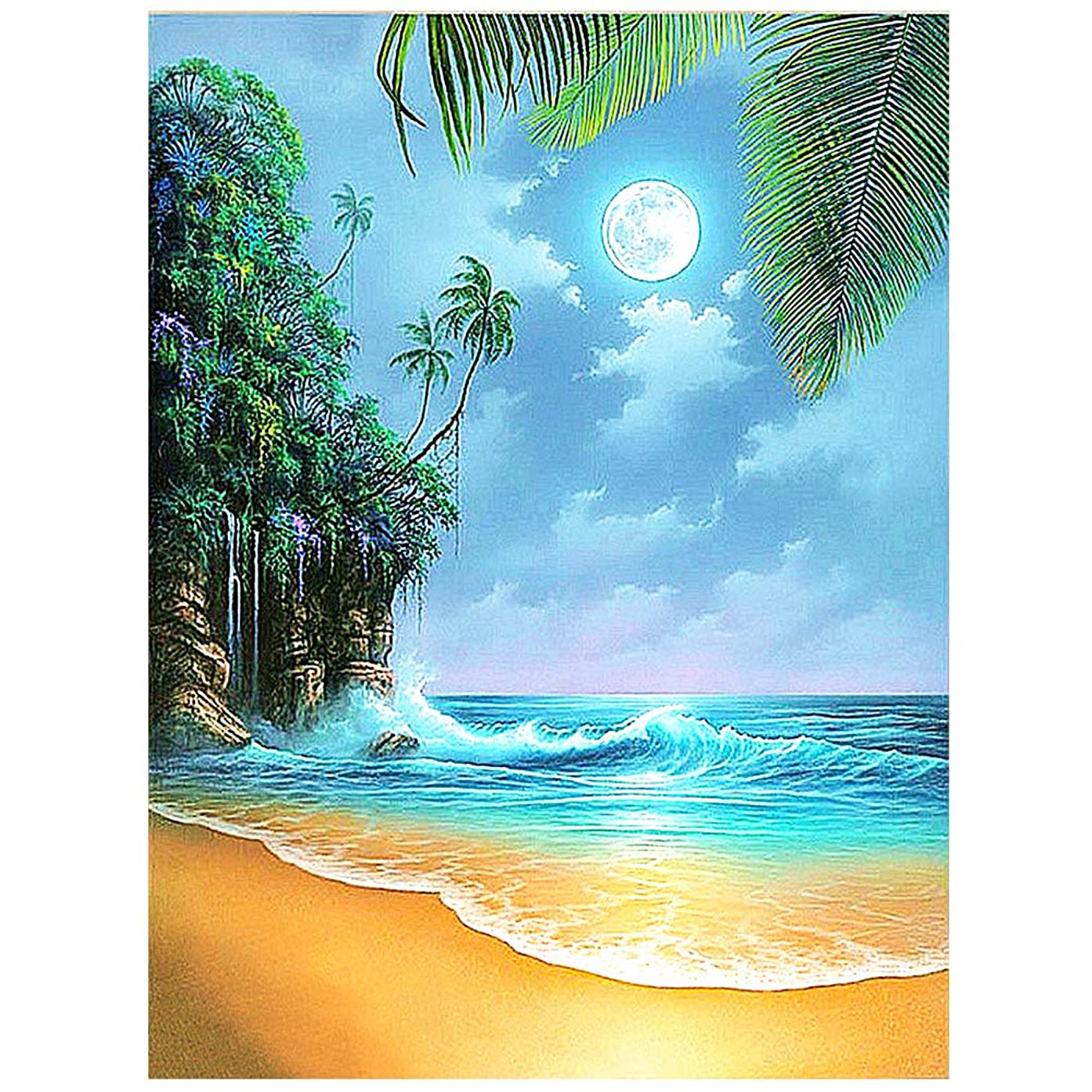 HuaCan DIY 5D Full Square Drill Diamond Painting by Number Cross Stitch Mosaic Kits Beach Moon Embroidery Handmade Wall Art Cross Stitch Arts Craft for Kids Adults 30x40cm/11.8x15.7in