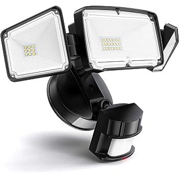 Amico 3 Head LED Security Lights Motion Sensor Outdoor Adjustable 40W, 3500LM, 5000K, IP65 Waterproof, ETL Certified, Exterior Flood Light for Garage, Yard