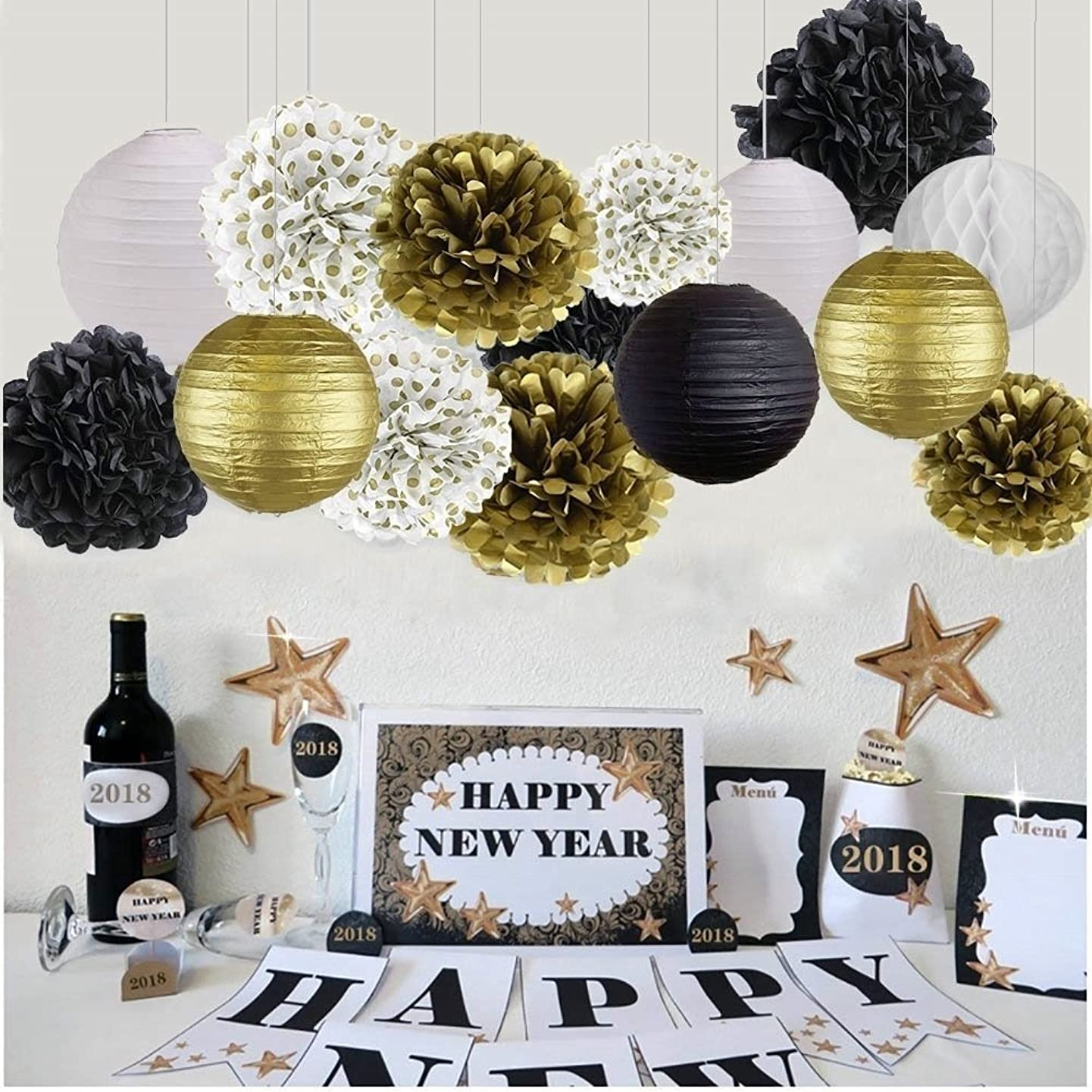 New Years Decorations Gold Black White Party Decor Kit Tissue Paper Pom Poms Flower Paper Lantern Paper Honeycomb Balls Party Hanging Decoration Favor for Birthday Decoration Black Gold Themed Decor