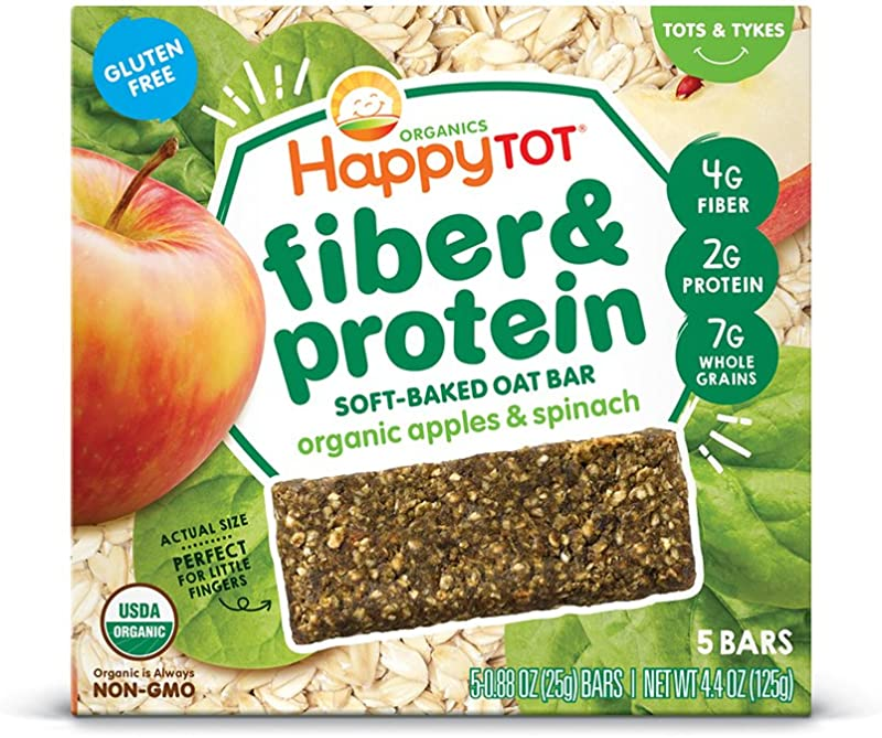 Happy Tot Organic Fiber Protein Soft Baked Oat Bars Toddler Snack Apple Spinach 5 Count 0 88 Ounce Bars Pack Of 6 Packaging May Vary