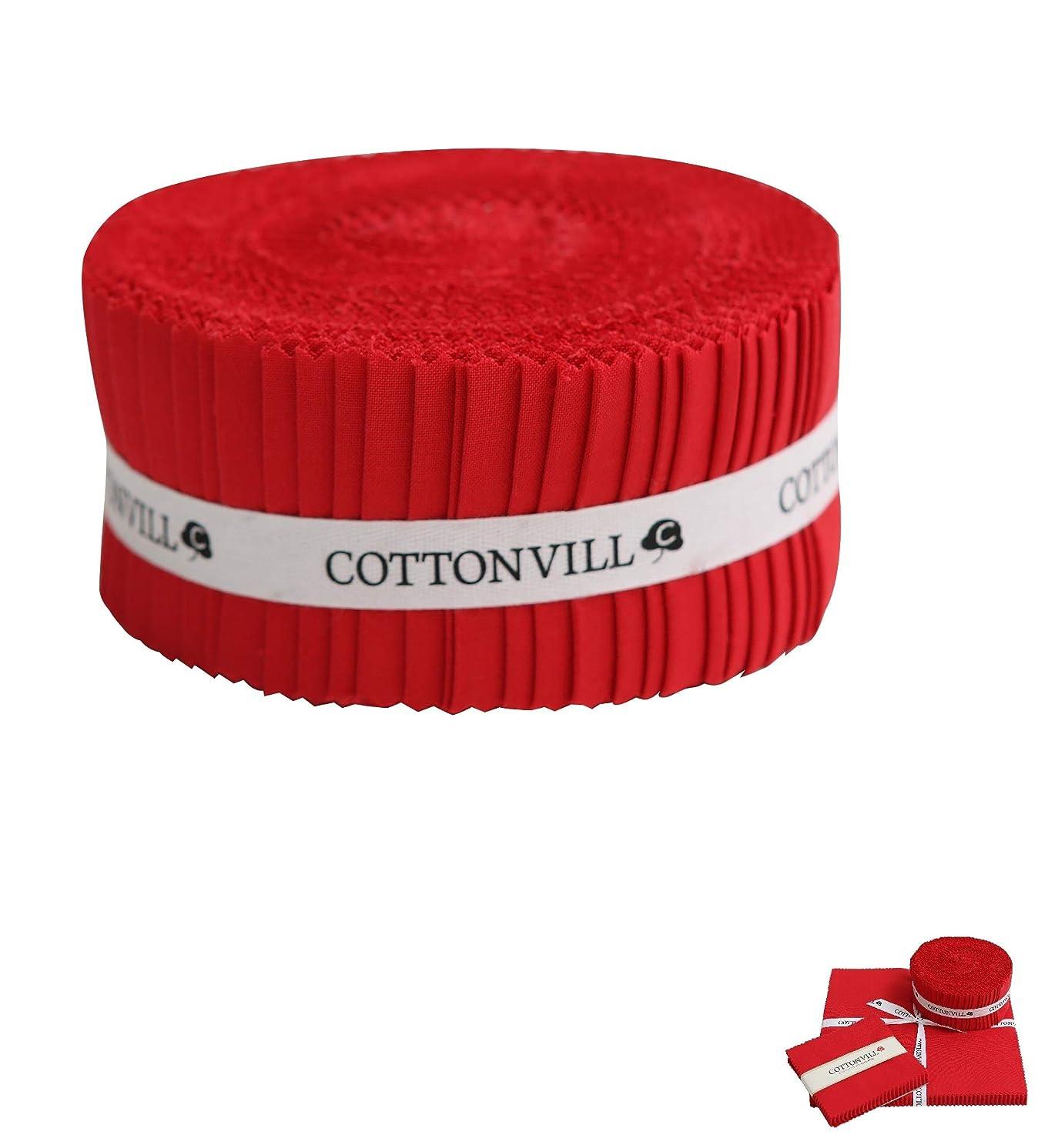 COTTONVILL Cotton Solid Precut Quilting Fabric Bundle 42 pcs, Red (2.5