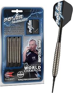 Target Darts Phil Taylor Power Silverlight 18G Brass Soft Tip Darts Set Dardos, Plata, 18 g