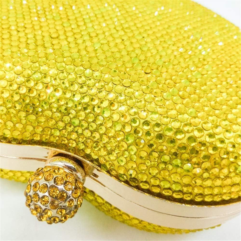 YaGFeng Sac De Soirée Les Femmes en Forme De Coeur en Cristal De Soirée Sac À Main Chaîne D'épaule Messenger Bag pour Le Bal de Mariage (Color : Pink) Yellow