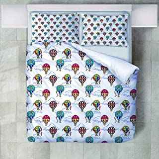 Bedding Set Double Bed 3D Polyester Rising Hot Air Balloon Duvet Cover And Pillowcases 3Pcs Natural Reversible Queen 220X2...