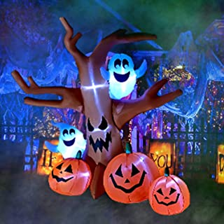 SEASONBLOW 8 Ft Halloween Inflatable Dead Tree with Ghosts Pumpkins Decoration Blow up Airblown Decor for Lawn Patio Indoor Outdoor Home Yard Party