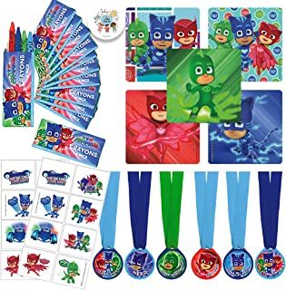 Our Special PJ Masks Party Favor Pack with Crayons, Stickers, Tattoos, Medals, and Exclusive Party Pin by Another Dream