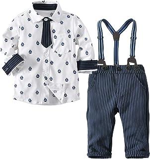 Mornyray 子供スーツ ワイシャツ 長袖 ズボン サスペンダー 3点セット ネクタイ付き 男の子 幼児 フォーマル セレモニー