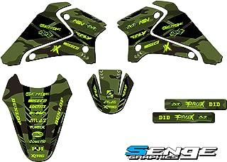 Senge Graphics kit compatible with Kawasaki 2003-2007 KLX 125, Apache Matte Green (MATTE FINISH) Base Graphics Kit