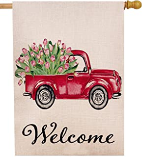 Dyrenson Tulips Flower House Flag Double Sided Welcome Quote, Love Valentine's Day House Red Truck Burlap Yard Decoration, Home Decorative Seasonal Outdoor Décor Large Flag 28 x 40 Spring Summer