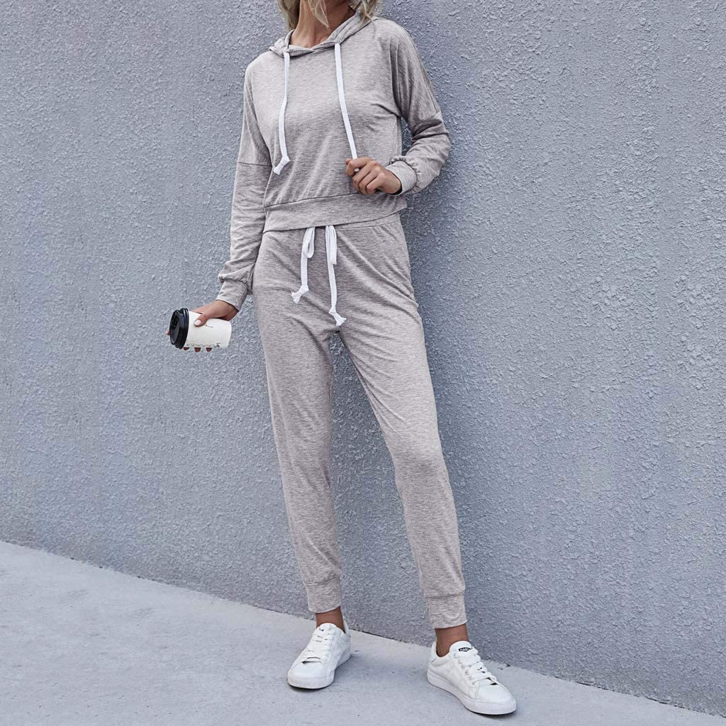XINXX Womens 2 Piece Outfits Tracksuit Long Sleeve Tops and Long Pants Sweatsuits Casual Soft Pullover with Drawstring