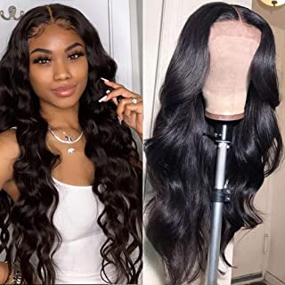 ISEE Hair Lace Front Wigs Brazilian Body Wave Human Hair Wigs for Black Women Pre Plucked Hairline 150% Density 13x4 Lace Front Wigs with Baby Hair Natural Color (18Inch)