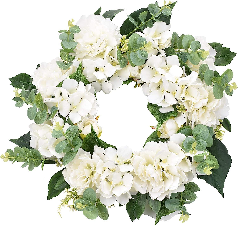 I-GURU Hydrangeas Spring Wreath for Door In stock Free shipping Inch Front Artif 16-18