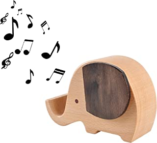 APSOONSELL Wooden Mobile Cell Phone Stand Holder Wind-up Music Box Elephant Toys Decor