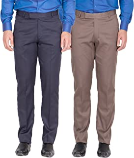 American-Elm Men's Nevy, Light Brown Colour Formal Trousers- Pack of 2