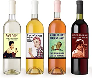 American Art Classics Funny Retro Vintage Themed Liquid Therapy Wine Bottle Labels - Set of 8 Wine Bottle Labels - 5 Inch X 4 Inch