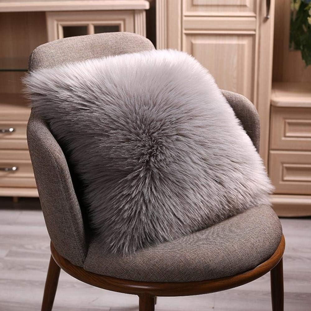 European style simple color square pillow imitation wool sofa pillow plush cushion pillow@sky blue_45-45 cm [single-faced plush core] White Gray Tip