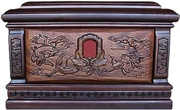 JIADUOBAO-urn Urns for Human Ashes Adult, Cremation Urn Memorial Woodcarving Box Clear Lines Memory Jar(850 Cu.in) JIADUOB...