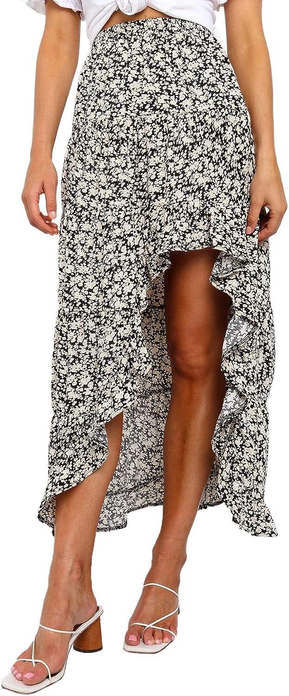 FIYOTE Women Maxi Skirt Boho Printed Casual Summer Long Maxi Skirts S-XL