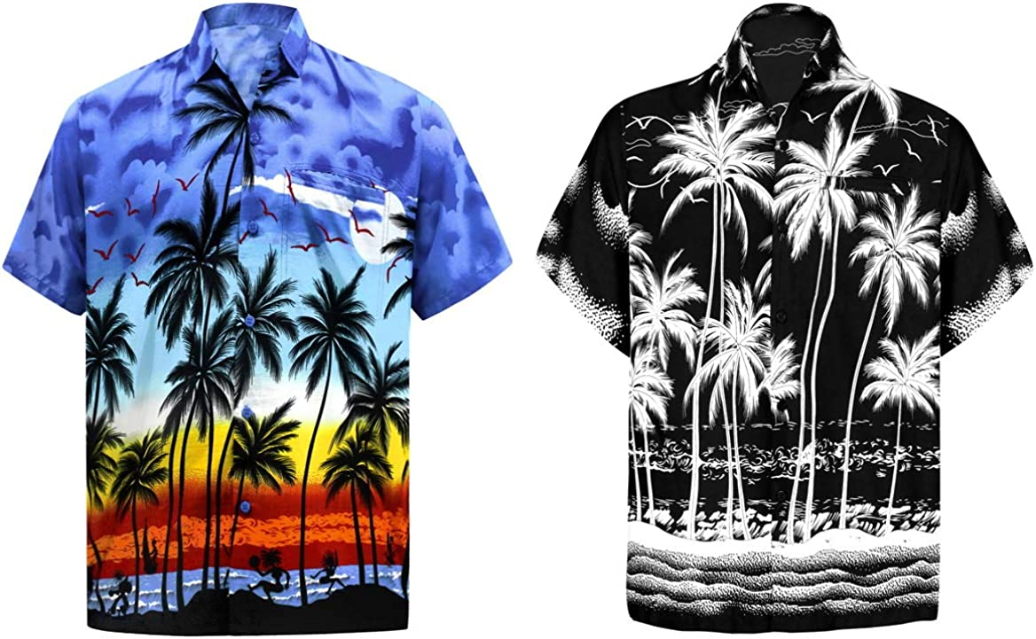 LA LEELA Men's Regular Fit Palm Tree Button Up Short Sleeve Hawaiian Shirt 3XL Work from Home Clothes Men Pack of 2