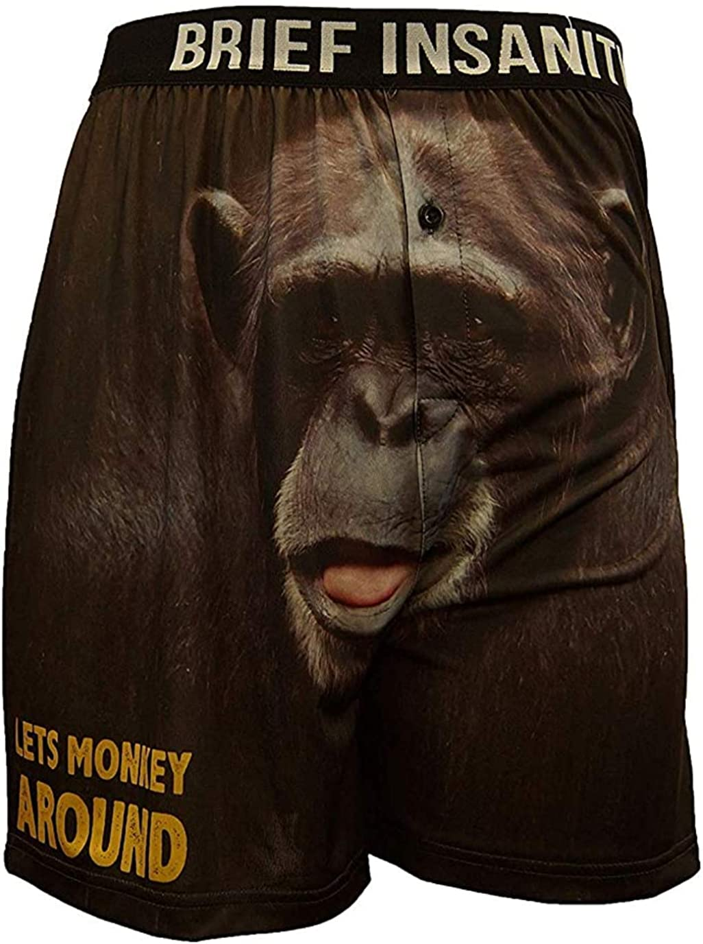 BRIEF INSANITY Monkey Boxer Briefs for Men and Women | Animal Boxer Shorts - Soft, Comfy, Breathable Underwear