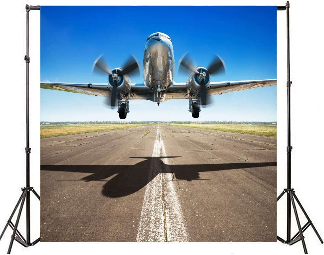 Yeele 10x10ft Plane Taking Off Photo Backdrops Vinyl Aerodrome Airliner Propeller Aircraft Runway Photography Background Airplane Adult Portrait Photo Booth Video Shoot Wallpaper Studio Props