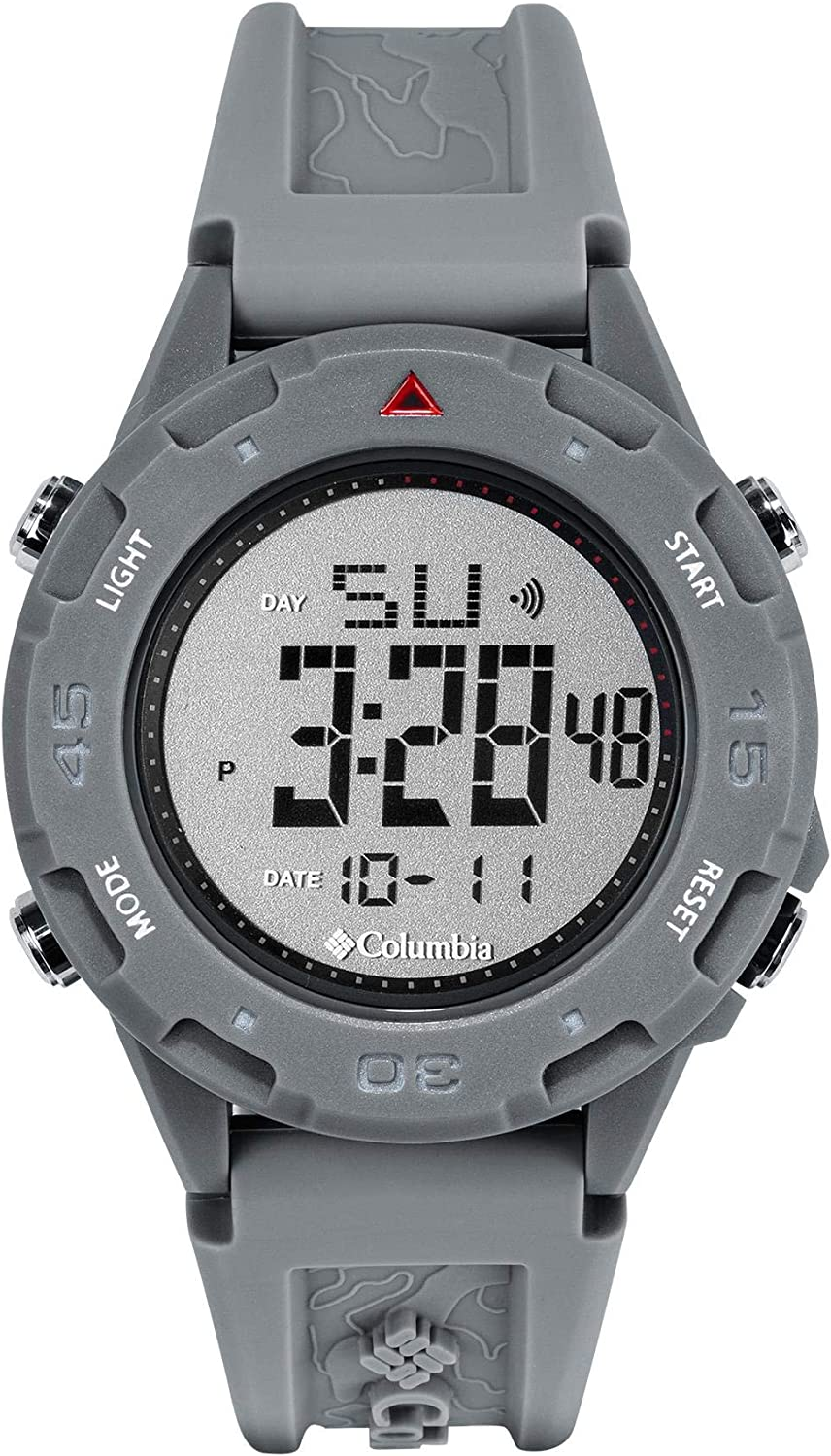 Columbia Timing The Sportsman Digital Men's Watch with Grey Dial and Grey Silicone Strap