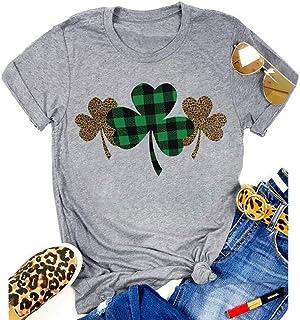 St. Patrick's Day Shirt Women Funny Buffalo Plaid Leopard Shamrock Printed Clover T-Shirt Graphic Tee