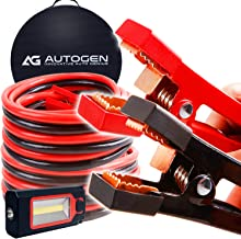 Heavy Duty Jumper Cables 1 Gauge x 25Ft. 900A Booster Cables cables with 100% Copper Jaws by AUTOGEN