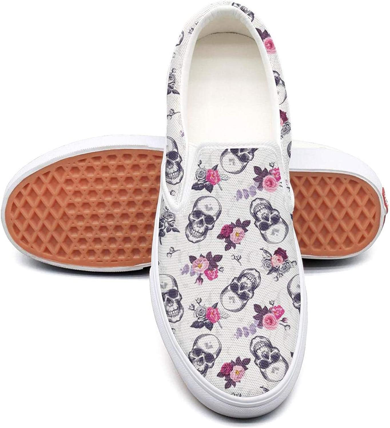 Skull with Flowers (5) Slip On Superior Comfort Sneakers Canvas shoes for Women Fashion