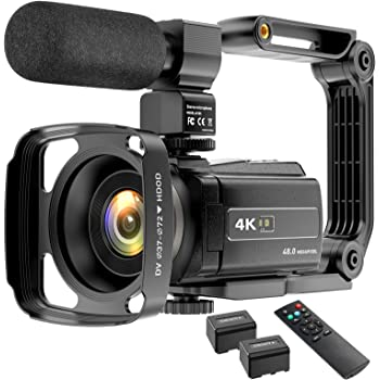 Video Camera Camcorder 4K 48MP YouTube Camera WiFi Digital Camera Vlogging Camera Vlog Video Camera Camcorder Night Vision Camcorder with Remote, Microphone, Lens Hood and 2 Batteries