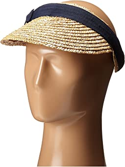 San Diego Hat Company WSV0005 4 Inch Brim Straw Clip On Visor with Bow