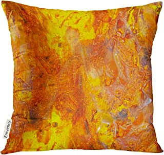 Emvency Throw Pillow Cover Beautiful Bright Colored Amber Yellow Orange of Petrified Resin Inclusions in Mosquitoes and Flies Waves Decorative Pillow Case Home Decor Square 16x16 Inches Pillowcase