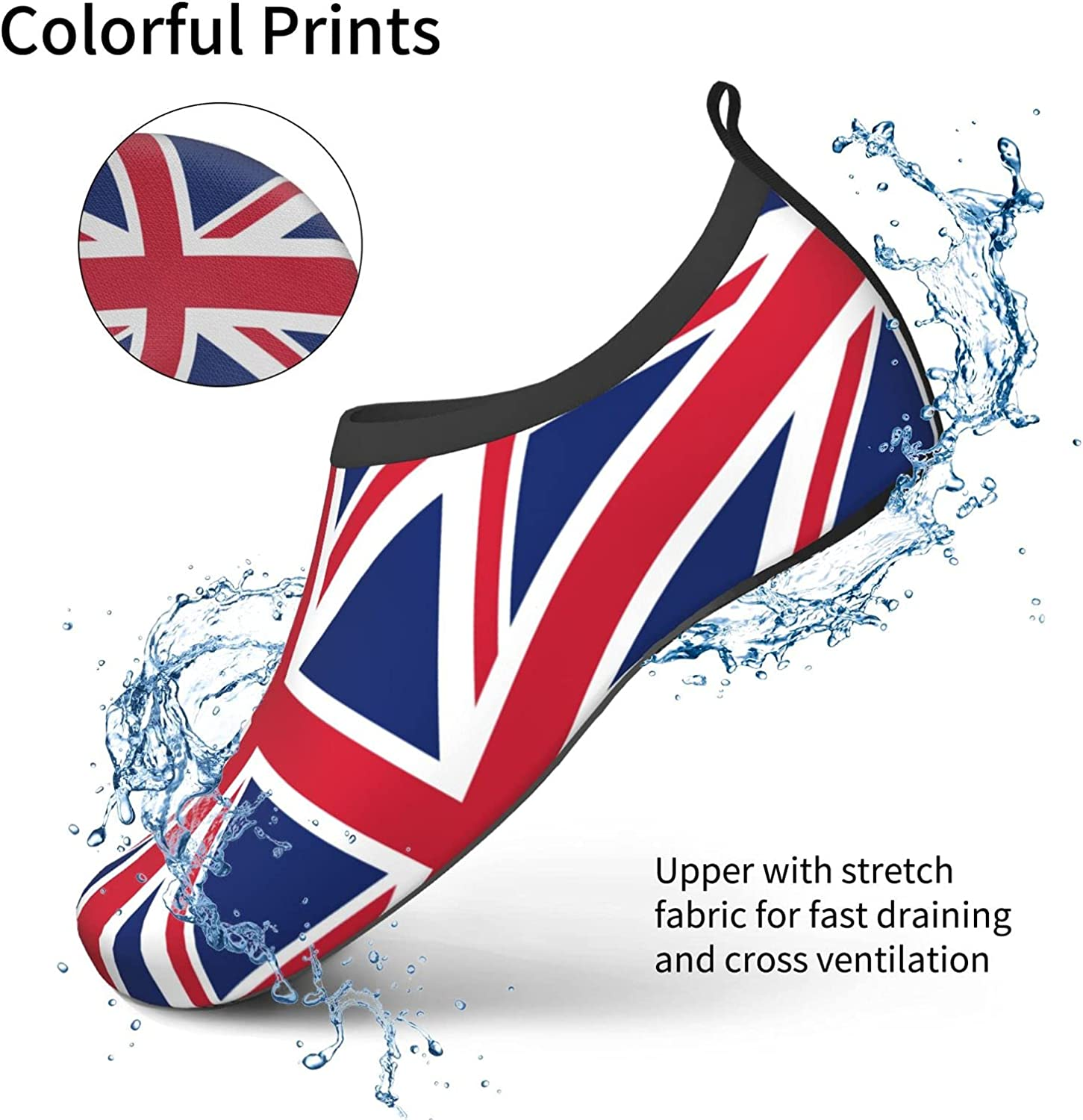 Union Jack Flag Water Shoes for Mans Womens Beach Quick-Dry Diving Shoes