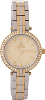 Nina Rose Luxurious and Distinctive Casual Analogue Watch for Women, Silver/Gold-Gold Dial