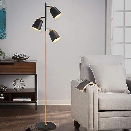 Lampadaire pivotant ZMH de salon, lampadaire en métal Lampadaire moderne 3 lampes pour bureau et chambre douille E27 max 25W hauteur 166cm couleur noir et bois sans ampoules