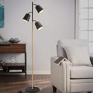 ZMH lámpara de pie ajustable salón lámpara de pie de metal lámpara de pie moderna 3 lámparas de pie para oficina y dormitorio E27 ajuste máximo 40W altura 166cm color negro y madera sin bombillas