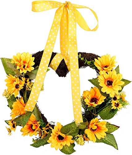 """new arrival 12"""" Spring Summer Artificial Sunflower Wreath for Front Door Yellow Decorative Floral Door Wreath with Green Leaves Wall Home Decor Holiday Decoration Hanging Ornament for Mother's popular online Day online"""