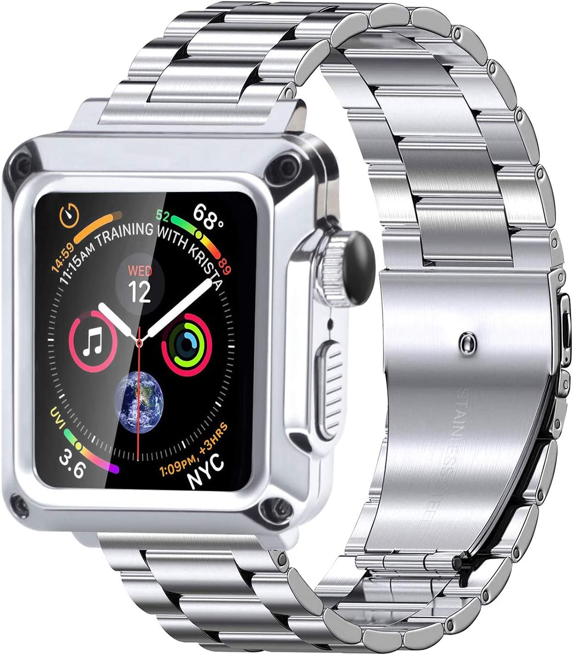 Metal Case for Apple Watch 6 Band 44mm, Stainless Steel Straps Heavy Duty Bumper Case for iwatch Series 6 SE 5 4 Strap Men's Full Protective Cover Tempered Glass Protector (44mm, Silver)