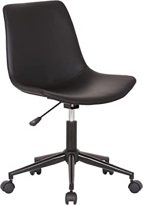 "Armen Living Optima Modern Faux Leather Office Chair with Wheels, 16-20"" Adjustable Height, Black"
